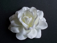 White Satin Gardenia Bridal Hair Clip Flower Wedding Veil Accessory