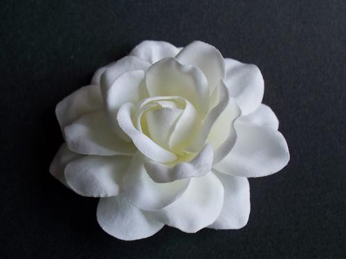 White Satin Gardenia Bridal Hair Clip Flower Wedding Veil Accessory