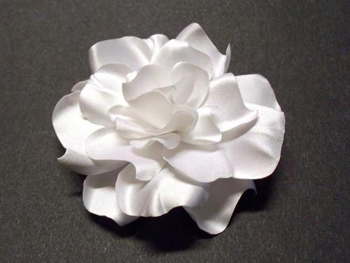 White Satin Gardenia Couture Bridal Hair Flower Accessory Wedding Veil