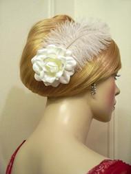 White Satin Gardenia Wedding Headwear Fascinator Hair Flower Accessory