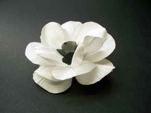 White Satin Wood Anemone Bridal Hair Flower Wedding Veil Accessory