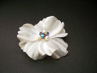 White Silk Rose Hair Flower Bridal Clip Blue Wedding Veil Accessory