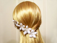 White Small Orchid Stephanotis Pearl Bridal Silk Flower Hair Pins, 5
