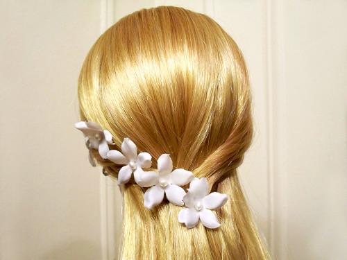 White Small Orchid Stephanotis Pearl Bridal Silk Flower Hair Pins, 5