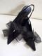 Bridal Shoe Clips Accessories Organdy Black Bow Swarovski Rhinestones
