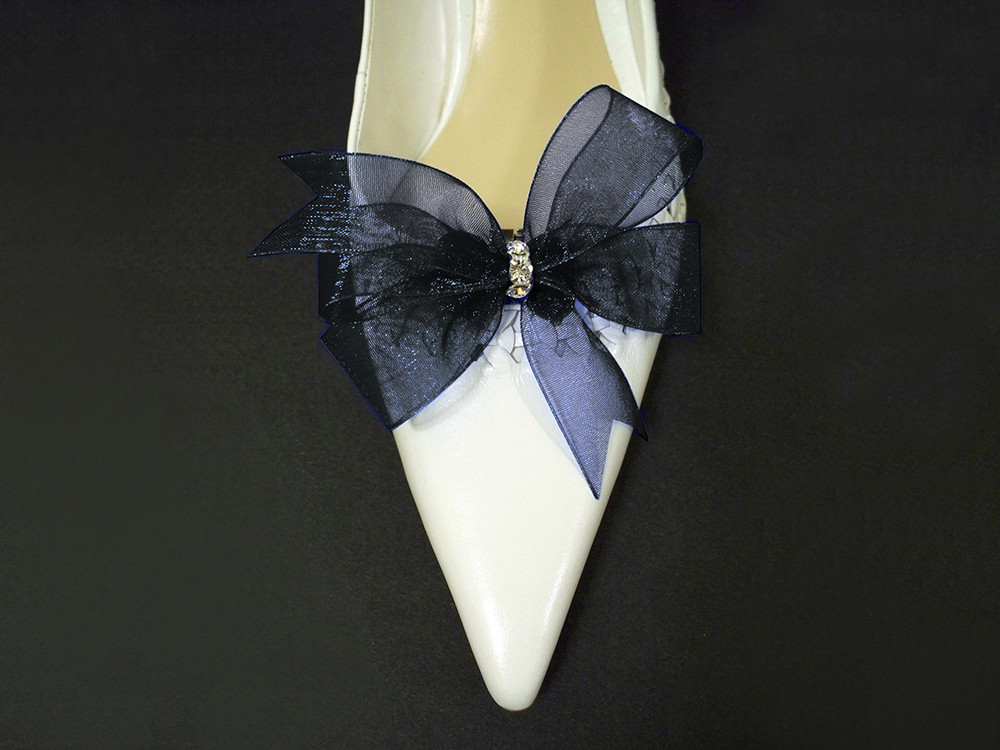 cdec3411aed Something Blue Accessories Bridal Shoe Clips in Navy Blue Organdy Bow Swarovski  Crystals