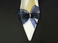 Something Blue Accessories Bridal Shoe Clips in Navy Blue Organdy Bow Swarovski Crystals