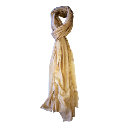 Champagne Beige Shawl 100% Pure Cashmere Knitted Hair Wrap Scarf Accessory