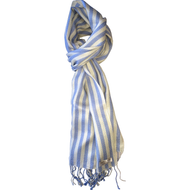 White Blue Striped 50/50% Silk and Cashmere Scarf Accessory Tznius Head Covering