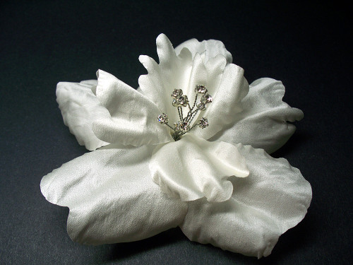 Bridal Wedding Hair Clip Accessory Tropical Silk Flower White Hibiscus