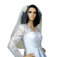 Bridal Wedding Pearl Edge Veil Elbow 40 x 30 in White with Comb