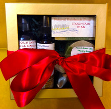 A Perfect Gift for Men! complete with Aftershave, Facial Toner, Shaving Soap and Brush, and Body Butter!  Your Mountain Man will love it!