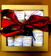 A very Special Gift Collection for Earth Lovers! Complete with 3 artisan-distilled hydrosols from ancient trees, Cedarwood lotion and bath salts, and Earth and Sea Hand-crafted soaps!