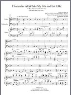 헌신에 관한 찬송가 '주께 드리네' 와 ' 나의 생명 드리니' 를 엮은 편곡입니다.  바이올린과 첼로가 때로는 서로 멜로디를 주고 받기도 하고 때로는 협동해서 피아노와 대조를 이루기도 하는 형태로 된 편곡입니다.