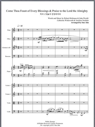 찬송가 '복의 근원 강림하사' 와 '다 찬양하여라' 를 엮은 리듬감과 생동감 넘치는 편곡입니다.  총보와 파트보 합계 10개의 화일입니다.  Instrumentation : Flute (2), Oboe, Clarinet in Bb, Bassoon, Violin1 (2), Violin2, Viola, Cello, Piano  Rhythmic arrangement of two traditional Hymns.  There are ten files including the full score and parts.
