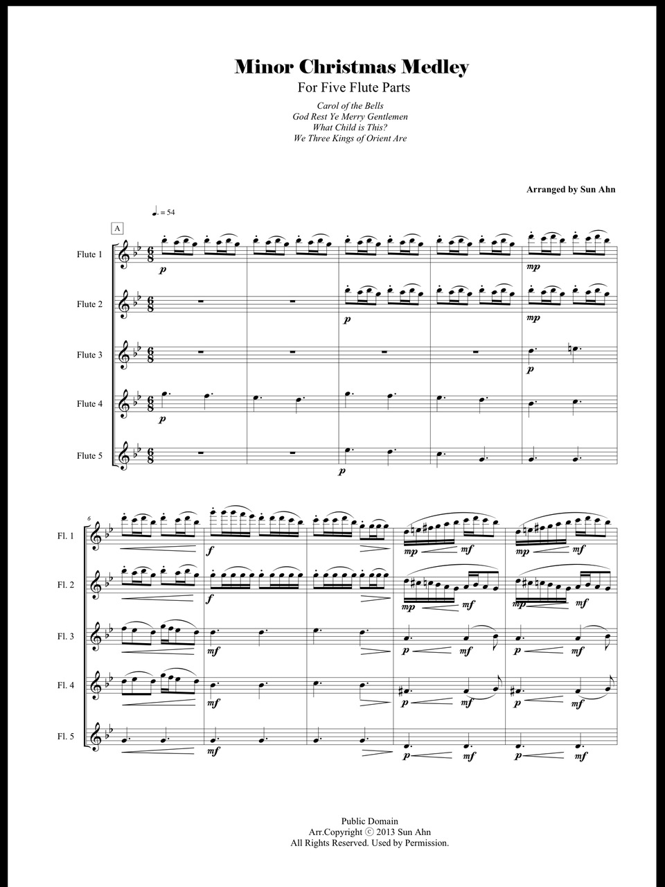 Marvelous Minor Christmas Medley For Five Flute Parts Sun Ahn Music Wiring Database Gramgelartorg