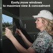 Deep-Track Window System. Silent sliding window panels with sound absorbing window guides and 360-degree vantage point.