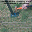 "Large welded foot pads with 24"" stabilizing stakes are included to secure feeder to the ground"