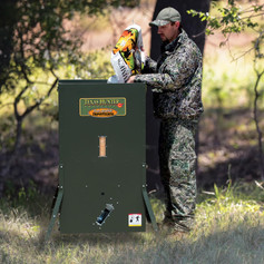 Texas Hunter Stand and Fill Feeders are Low to the Ground and Easy to Fill.