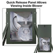 View inside Texas Hunter Product's unique quick-release panel, showing the exclusive clearView funnel and patented blower system