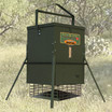 Texas Hunter 300 lb. Trophy Feeder with Heavy Duty Hanging Bracket, shown with optional SP12 Solar Charger.