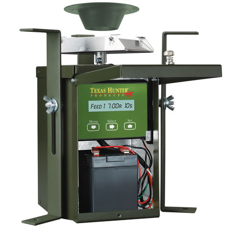 Texas Hunter 12 Volt Wildlife Feeder Kit Inside View with 12 Volt Rechargeable Battery