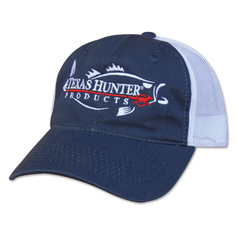 Texas Hunter Navy Blue Mesh Back Cap with Fish Logo