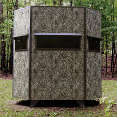 """Texas Hunter Products 5' x 7' Wrangler Hide-A-Way Camo Hunting Blind with Rifle Windows and 7"""" Ground Legs."""