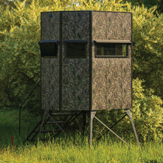 Texas Hunter Products 5' x 7' Wrangler Hide-A-Way Camo Hunting Blind with Rifle Windows and 4-foot Powder-coated Steel Tower, with Full Door and Full Height Handrails.