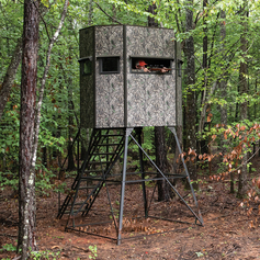 Texas Hunter Products 5' x 7' Wrangler Hide-A-Way Camo Hunting Blind with Rifle Windows, Walk Through Door and 8-foot powder-coated steel Tower, Staircase and full-height Handrails.