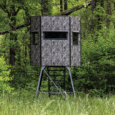 Texas Hunter Products 5' x 7' Wrangler Hide-A-Way Camo Hunting Blind with Combination Bow & Rifle Windows, Walk Through Door and 8-foot powder-coated steel Tower, Staircase and full-height Handrails.
