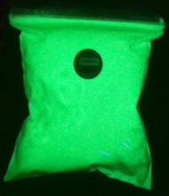 Green Glow in the dark powder once charged with light