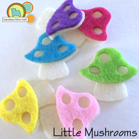 5 Little Felt Mushrooms