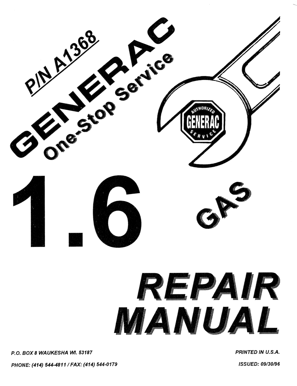 GENERAC 1.6 GAS ENGINE REPAIR MANUAL (0A1368)
