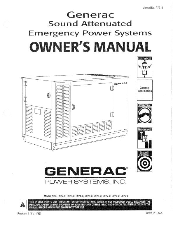 Generac Gp7000 Service manual