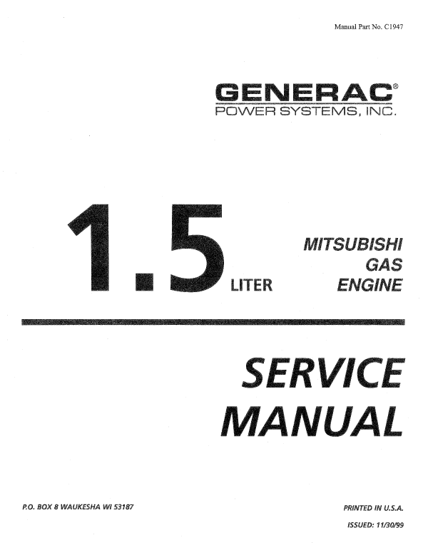 Generac 1.5L Mitsubishe Gas Engine Service Manual 0C1947