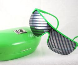 Green hard case w/sample matching sunglasses