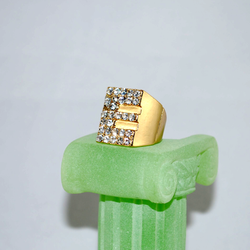 3/4 view of Crystal Initial Ring