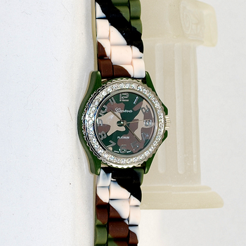 Close up view of watch face