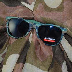 "Sunglasses against a ""Camo"" scarf"
