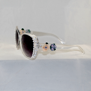 Bling Custom Clear Frame Oversized Sunglasses w/ Resin Flowers and Faux Pearls