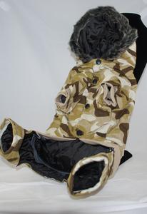 3/4 underside view of Desert Camo coat