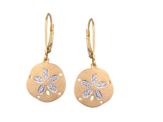 Denny Wong 14k Yellow gold and Diamond Sand Dollar Earrings