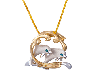 Denny Wong 14k two tone Surfing Dolphins Pendant