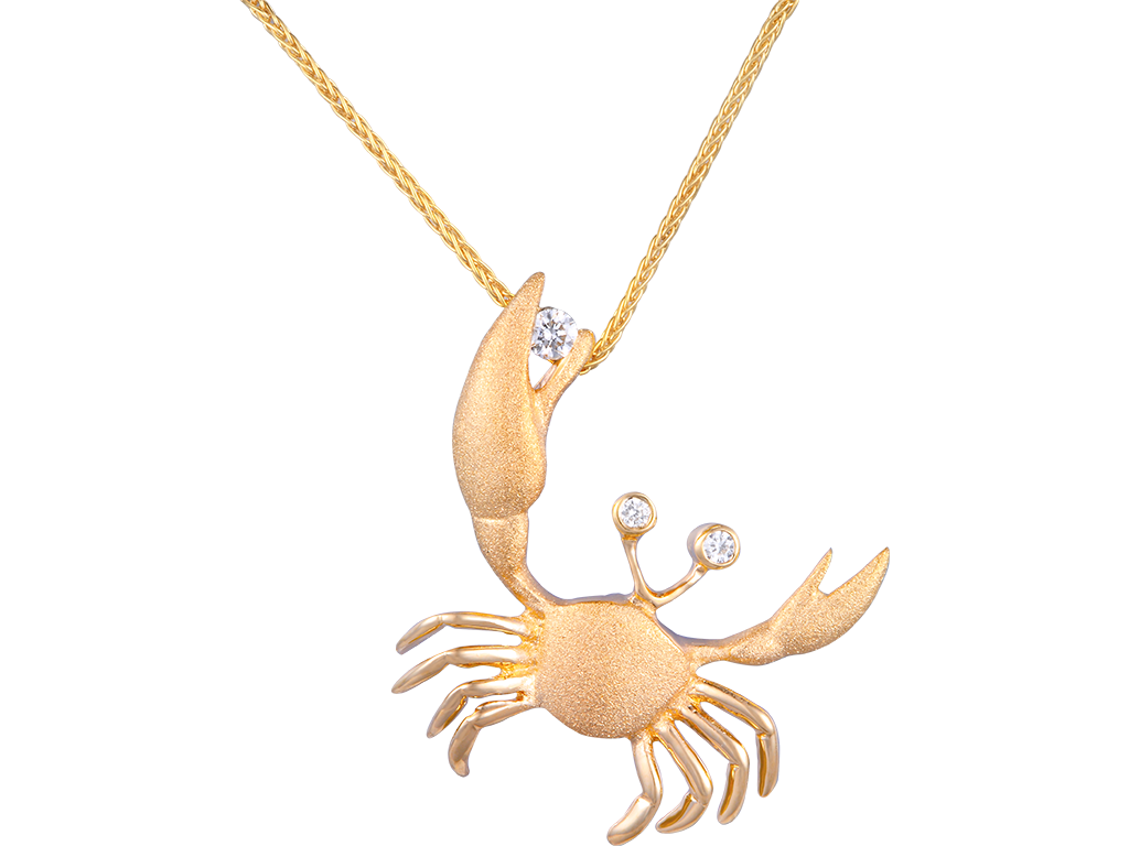 01d0176763d Denny Wong 14k Yellow gold Crab pendant with Diamond - www ...
