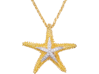 Denny Wong 14k two tone Starfish Pendant with Diamonds