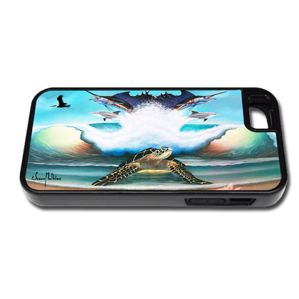 """""""iPhone 5 & 5s fine art phone case"""" by artist Jason Mathias: Carry around this unique piece of personalized art of a Sea Turtle on the beach standing guard over an ocean wave, sailfish, Dolphins, pelicans and seashells while protecting your phone all at the same time!"""