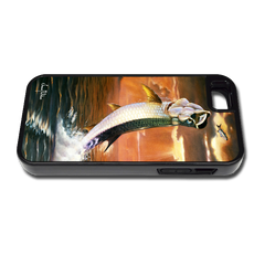 """iPhone 5 & 5s fine art phone case"" by artist Jason Mathias: Carry around this unique piece of personalized art of a leaping Tarpon framed against a blazing sunset while protecting your phone all at the same time!"