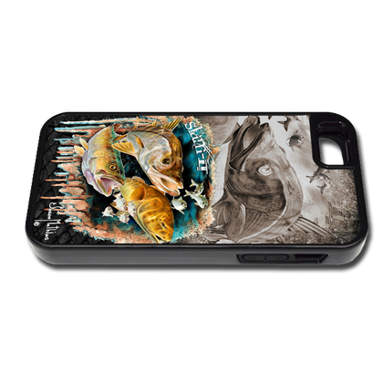 """""""iPhone 5 & 5s fine art phone case"""" by artist Jason Mathias: Carry around this unique piece of personalized art of a Inshore Slam with the Snook, Trout and Redfish while protecting your phone all at the same time!"""