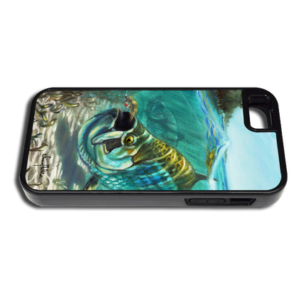 """iPhone 5 & 5s"" fine art phone case"" by artist Jason Mathias: Carry around this unique piece of personalized art of a Silver King Tarpon about to destroy a well presented fly while protecting your phone all at the same time!"